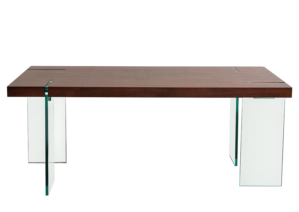 Your Cost Furniture Glass Leg Dining Table With Java Veneer Top