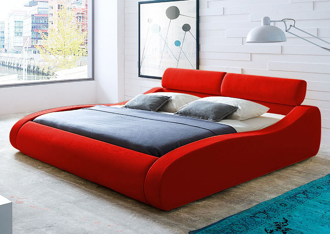 Aruba Eastern King Bed in Red Fabric with Click-Clack Head Rests,Diamond Sofa