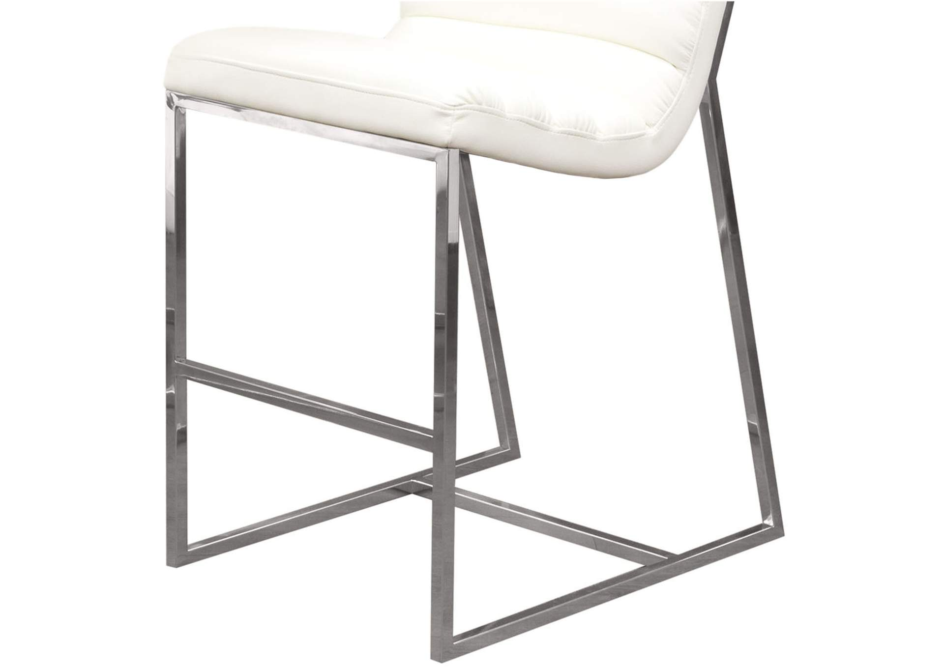 Bardot White Counter Height Chair W/ Stainless Steel Frame,Diamond Sofa