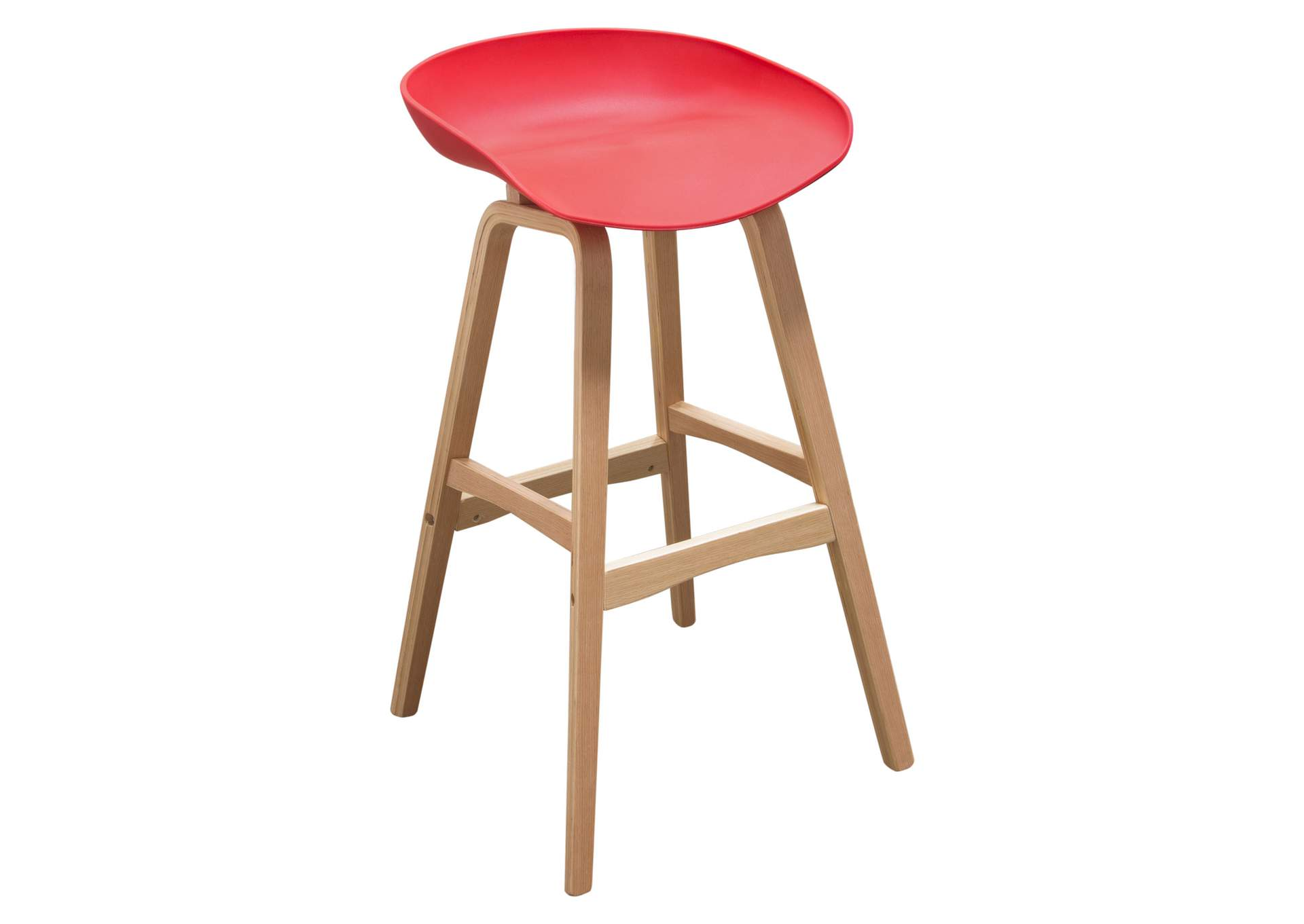 Brentwood Red Bar Height Stool w/Molded Bamboo Frame,Diamond Sofa