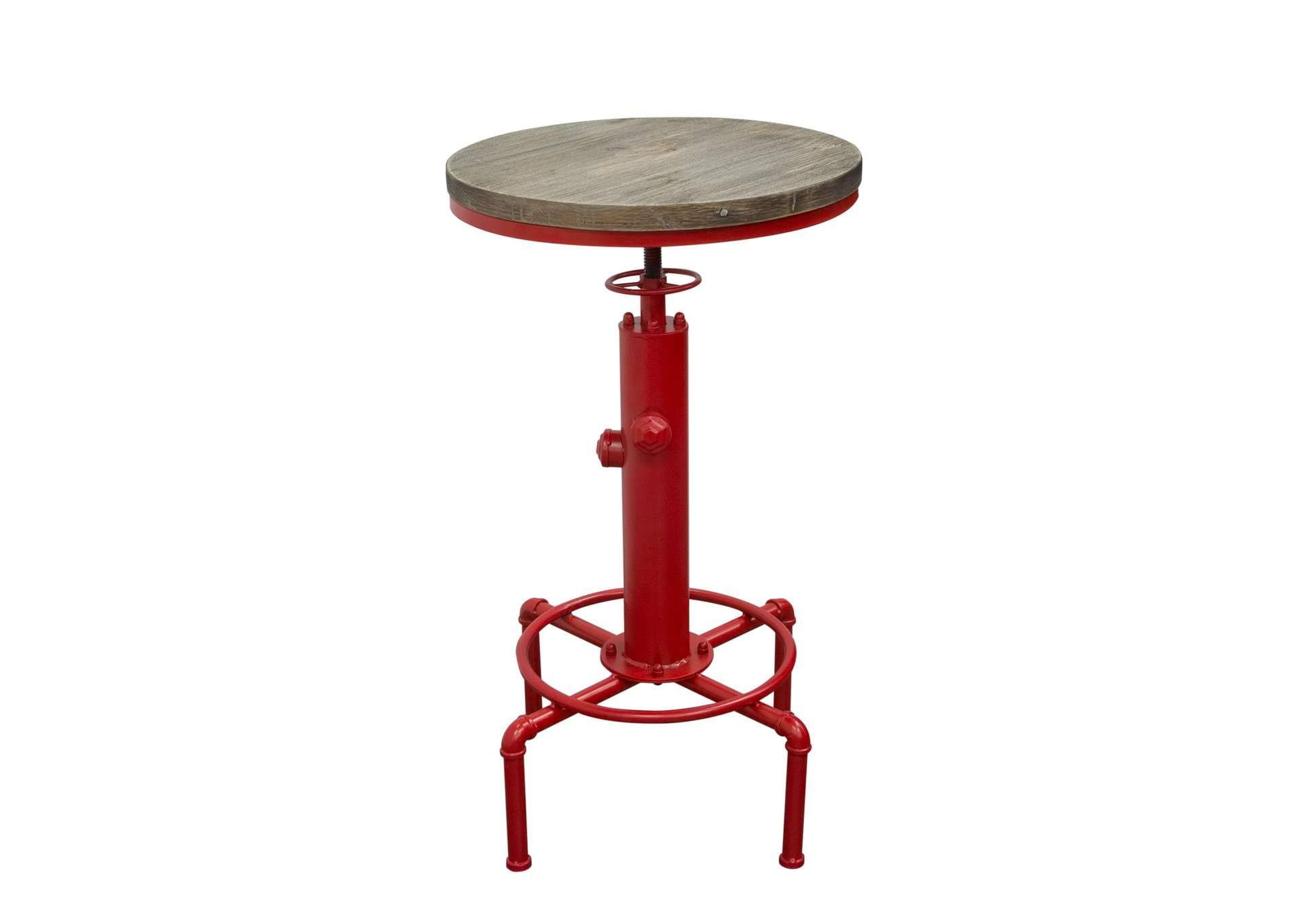 Brooklyn Adjustable Height Bistro Table w/Weathered Grey Top & Red  Powder Coat