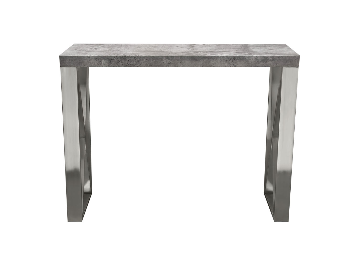 Carrera 3D Faux Concrete Finish Counter Height Table w/Brushed Stainless Steel Legs,Diamond Sofa