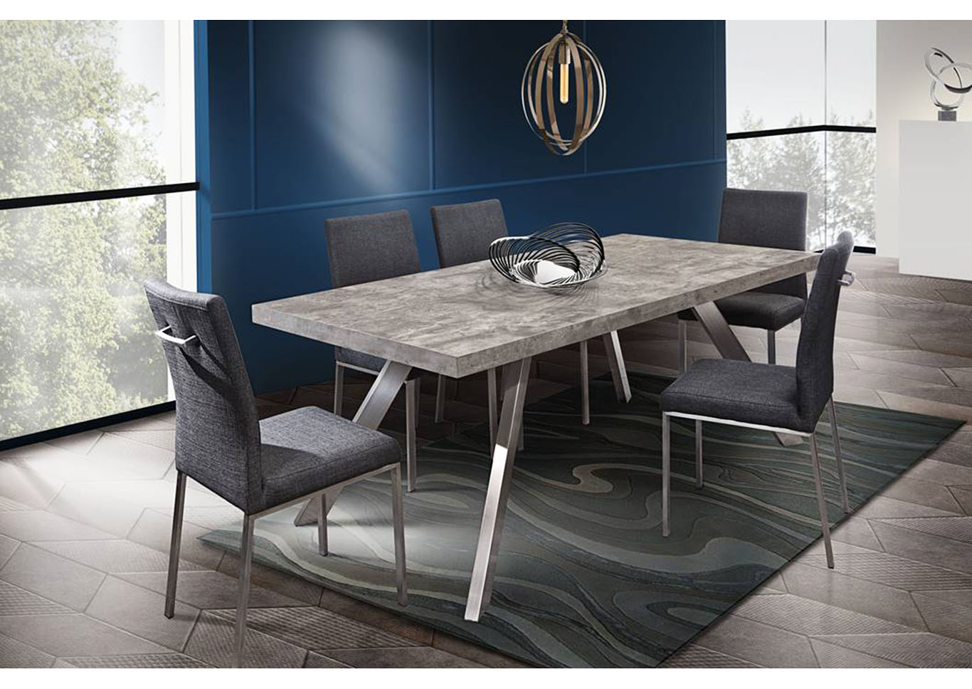 Carrera Faux Concrete Finish Dining Table w/Brushed Stainless Steel Legs,Diamond Sofa