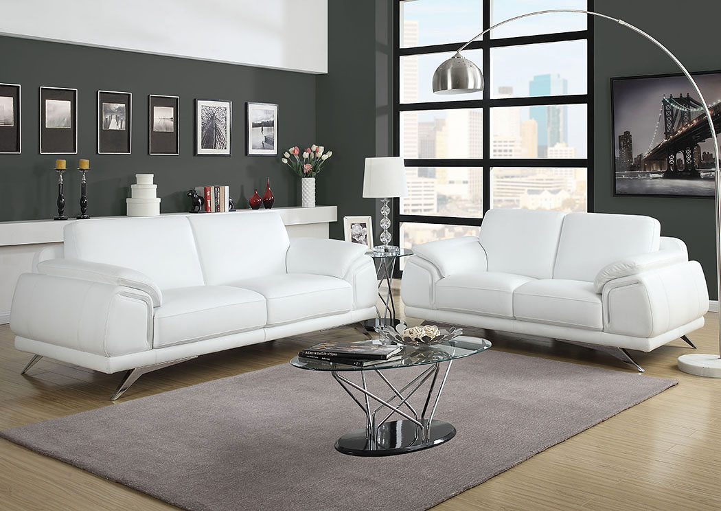 Casablanca Top Grain Leather Sofa U0026 Loveseat Two Piece Set,Diamond Sofa