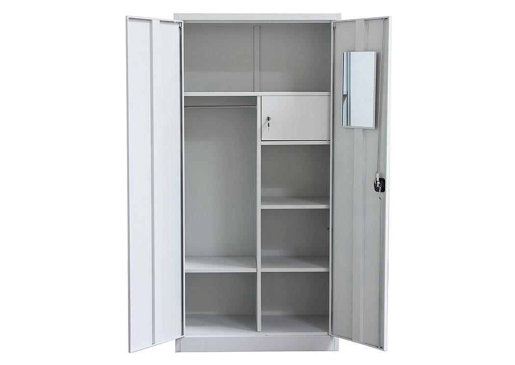 2 Door Metal Closet With Safe U0026 Mirror With Key Lock Entry,Diamond Sofa