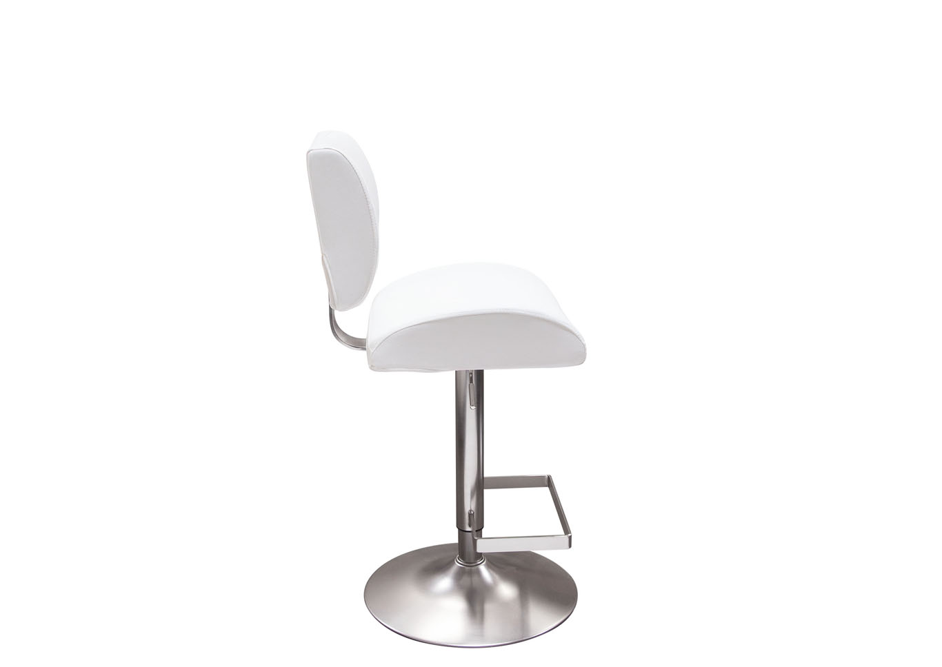Contour White Hydraulic Adjustable Height Bar Stool w/Brushed Stainless Steel Base,Diamond Sofa