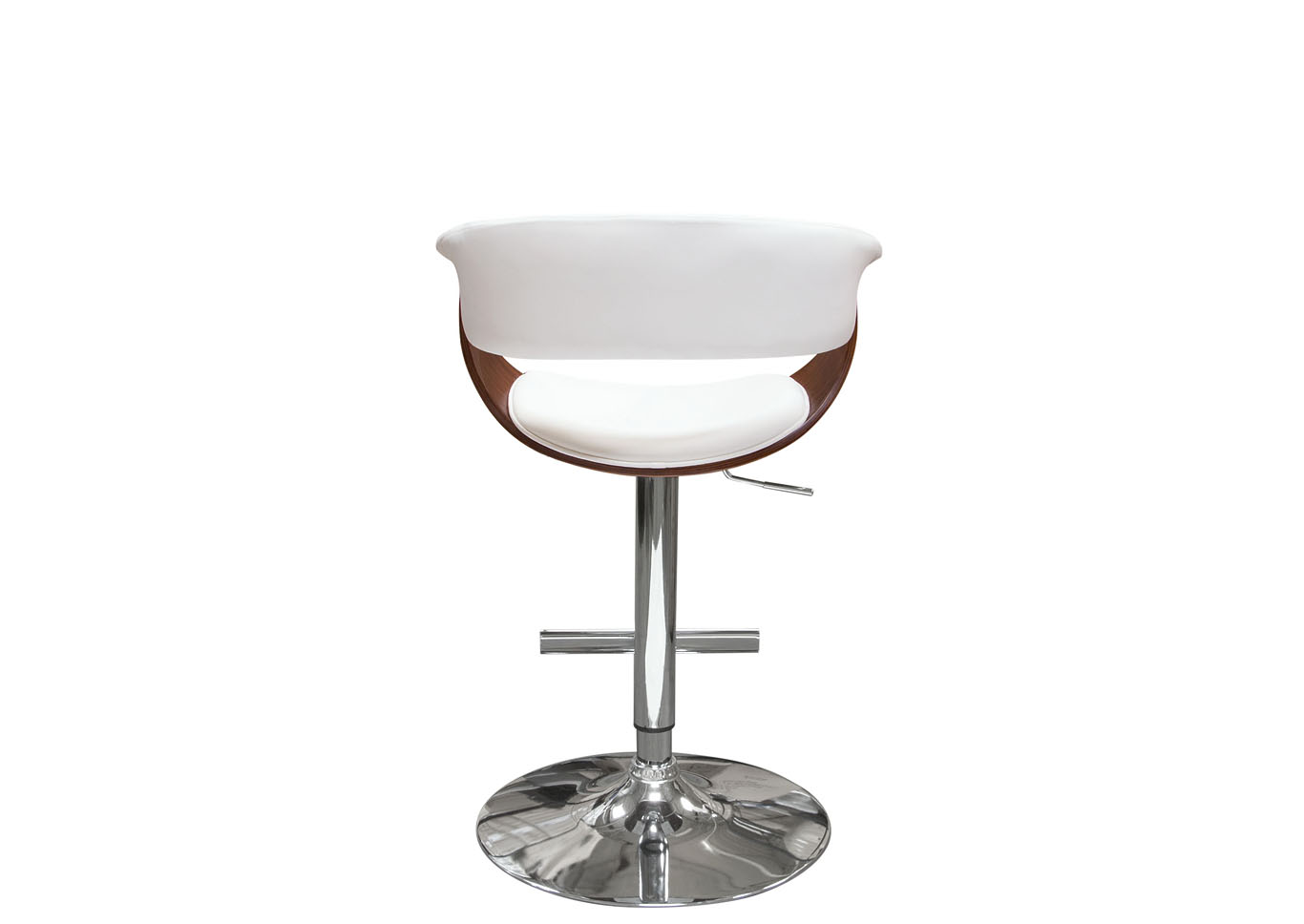 Cove White Hydraulic Adjustable Height Stool w/Molded Bamboo Seat and Polished Metal Base,Diamond Sofa