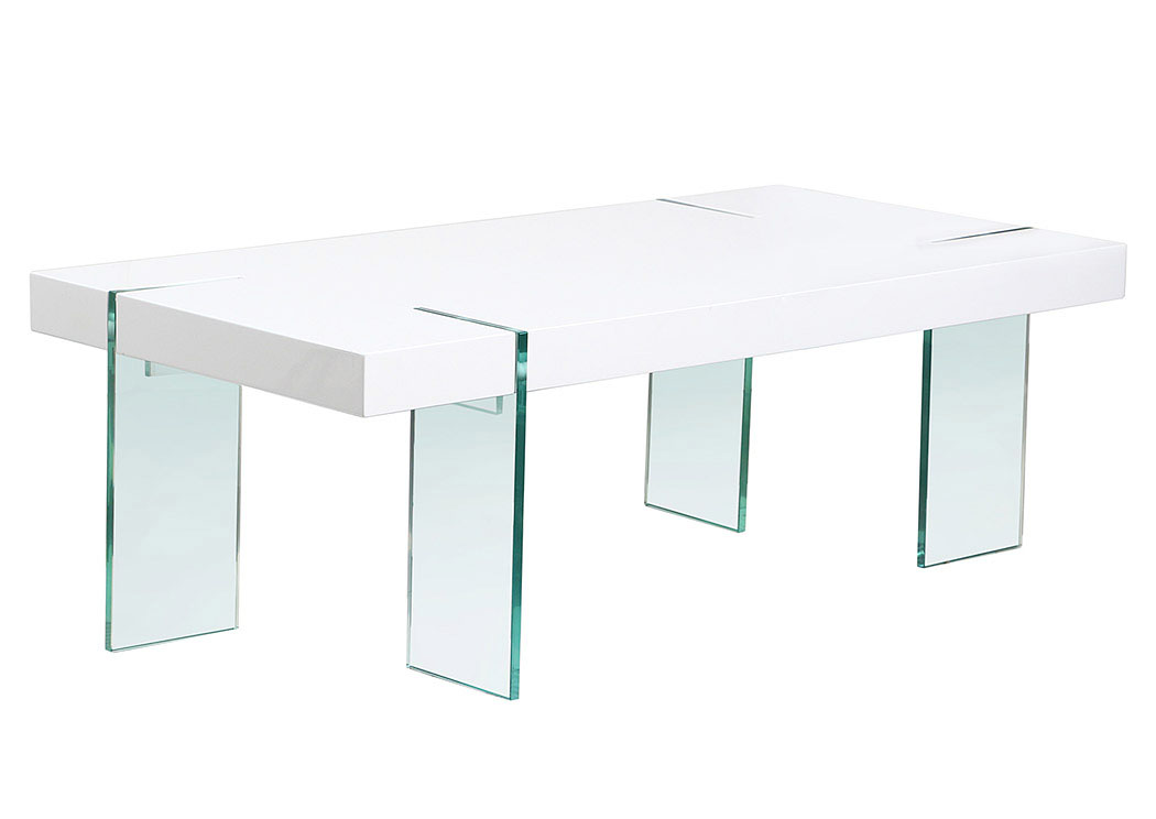 Your Cost Furniture Glass Leg Cocktail Table With White Lacquer Top