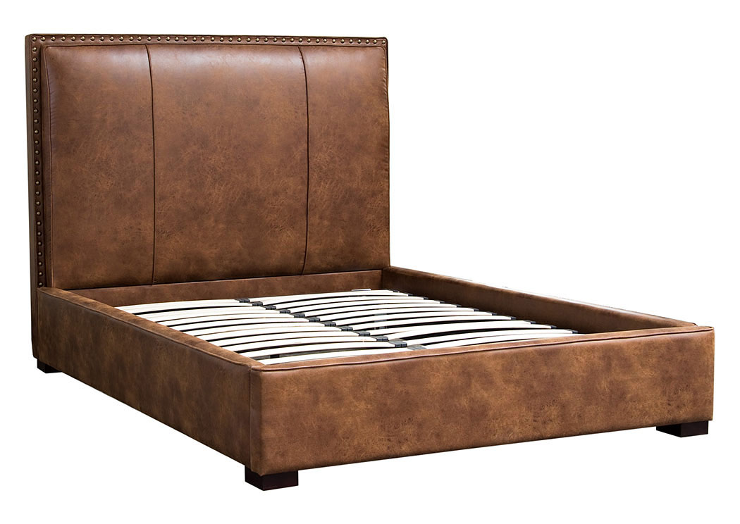 Merveilleux Joyce Queen Bed In Brown Bomber Blended Leather With Nail Head  Accents,Diamond Sofa