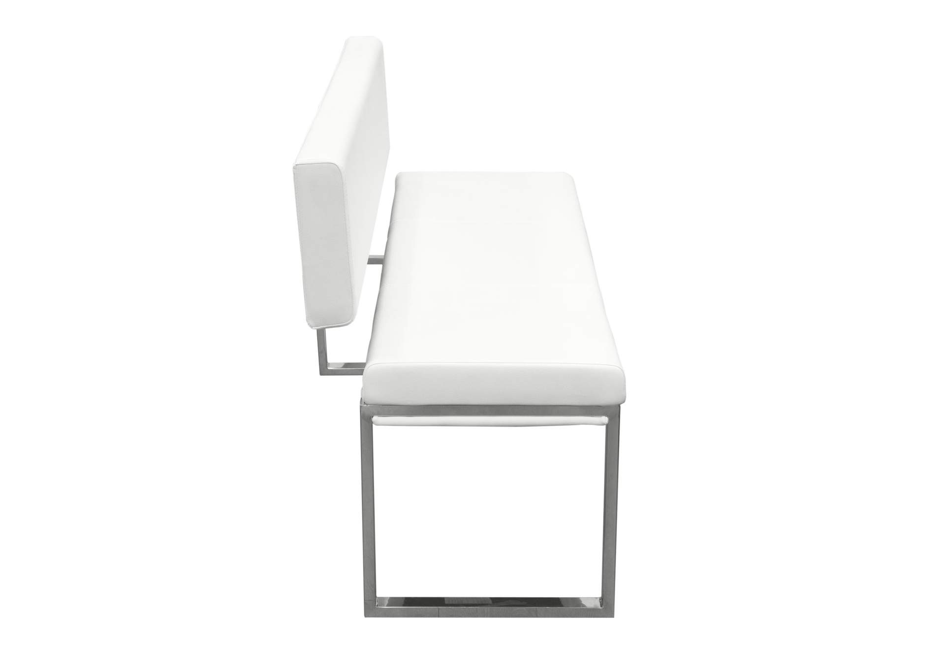 Knox White Bench w/ Back & Stainless Steel Frame,Diamond Sofa