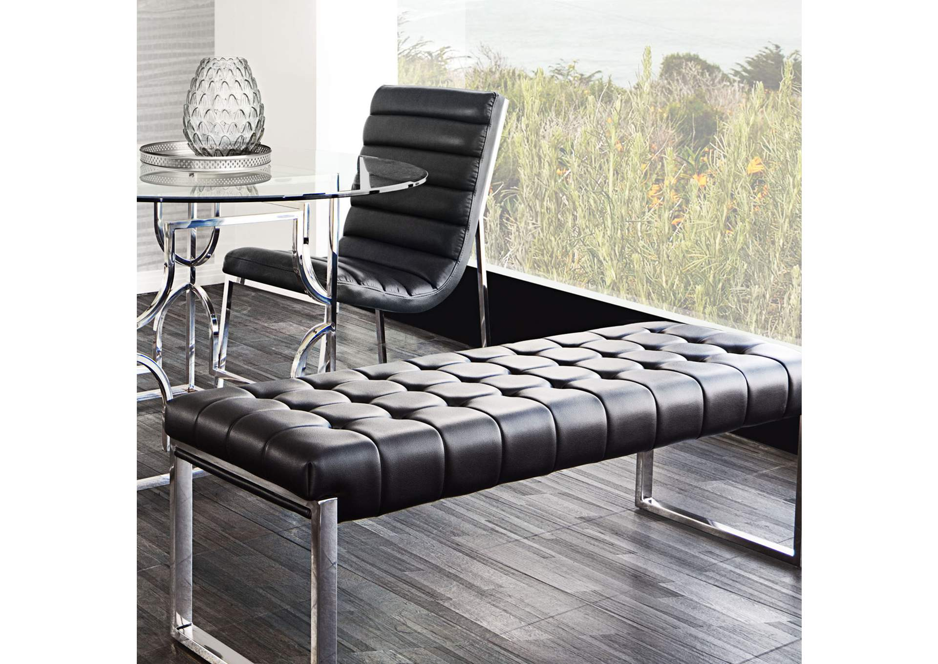 Knox Black Backless Tufted Bench w/ Stainless Steel Frame,Diamond Sofa