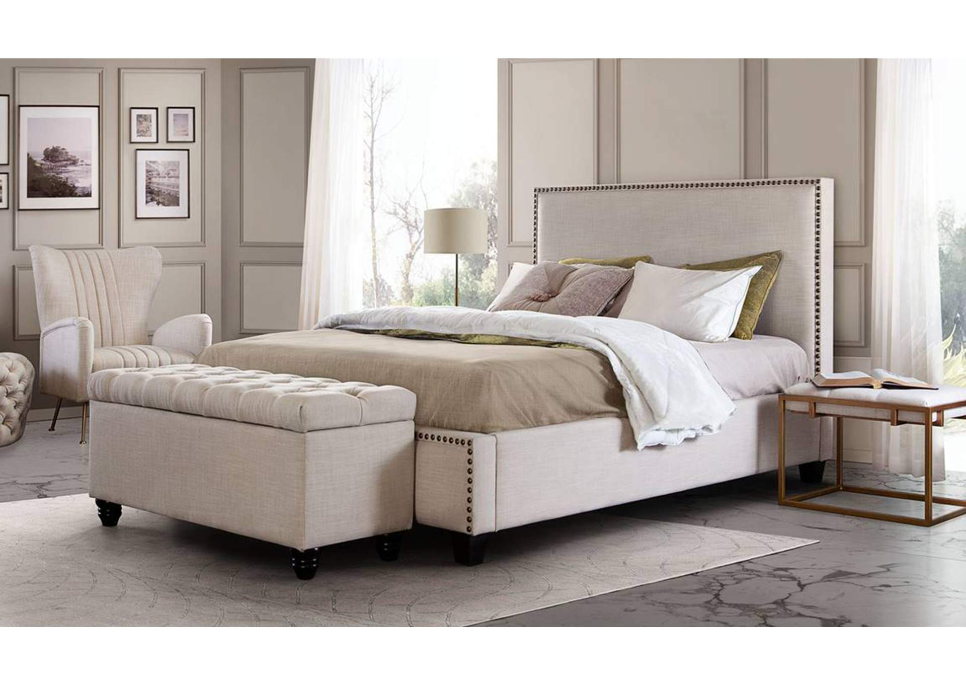 La Jolla Desert Sand Linen Eastern King Platform Bed with Nail Head Accent,Diamond Sofa