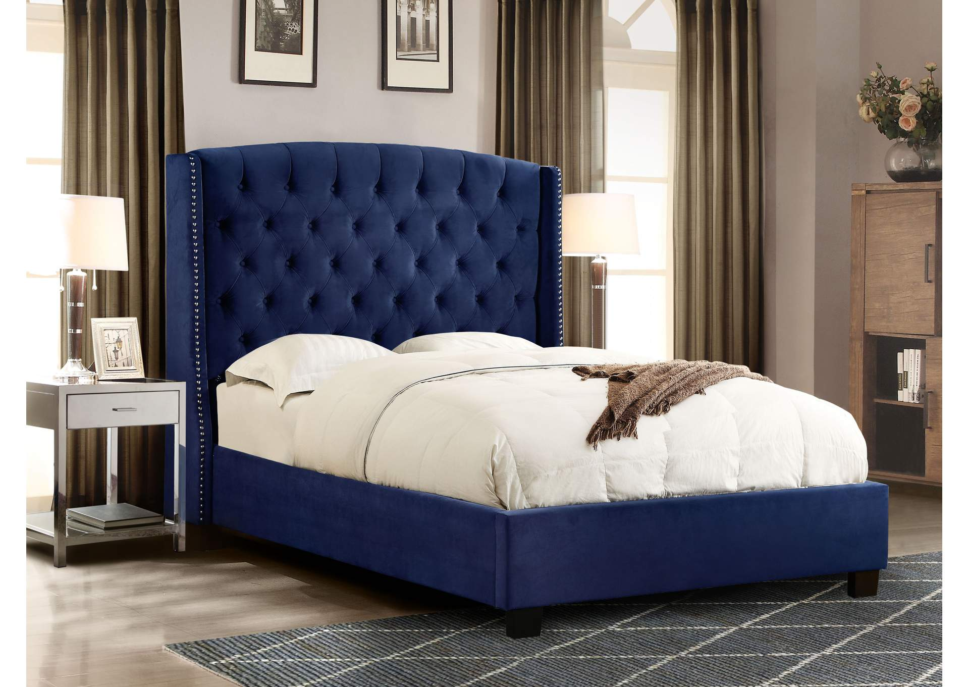 Majestic Royal Navy Velvet Eastern King Tufted Bed w/Nail Head Wing Accents,Diamond Sofa