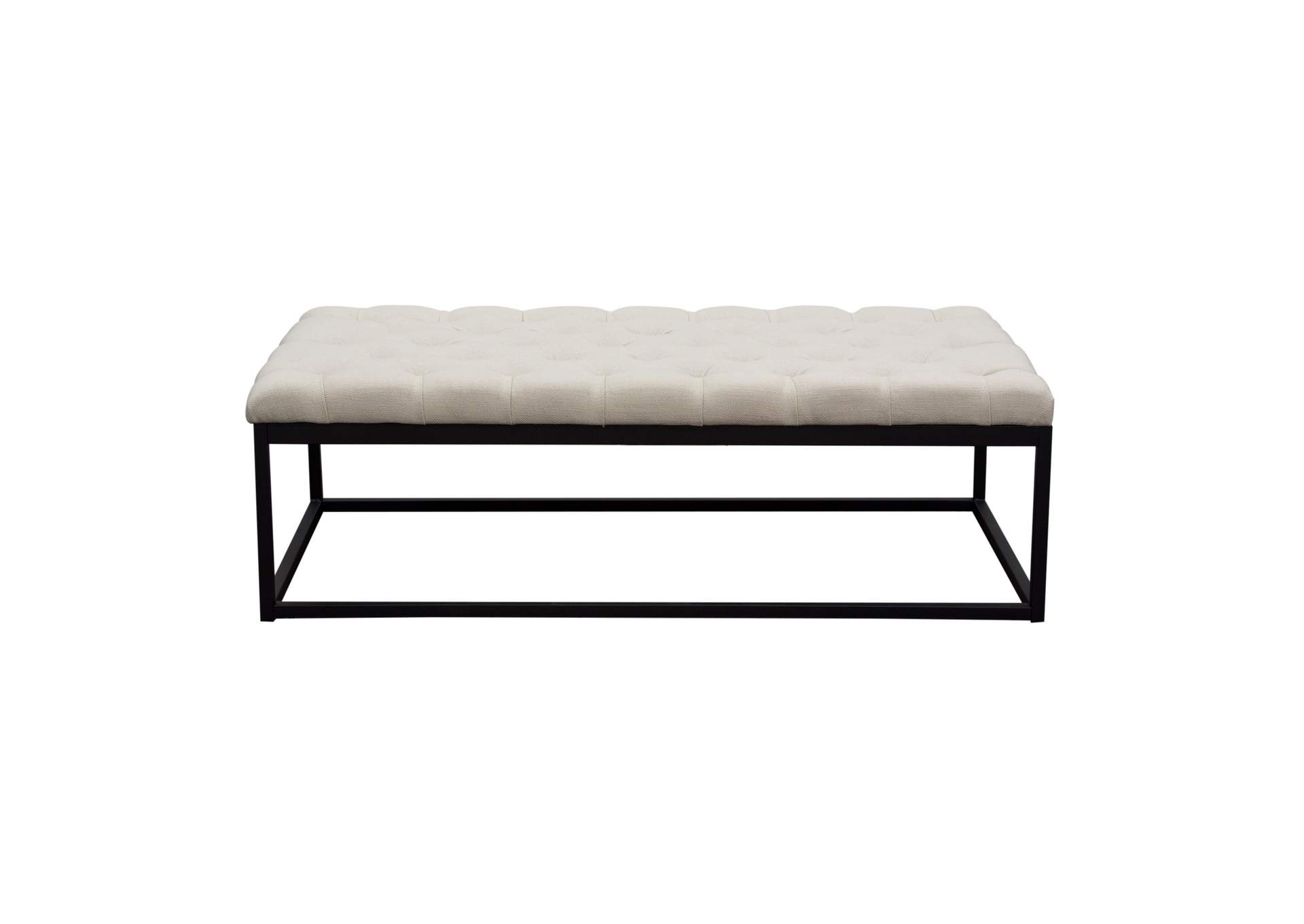 Mateo Desert Sand Linen Black Powder Coat Metal Large Tufted Bench,Diamond Sofa