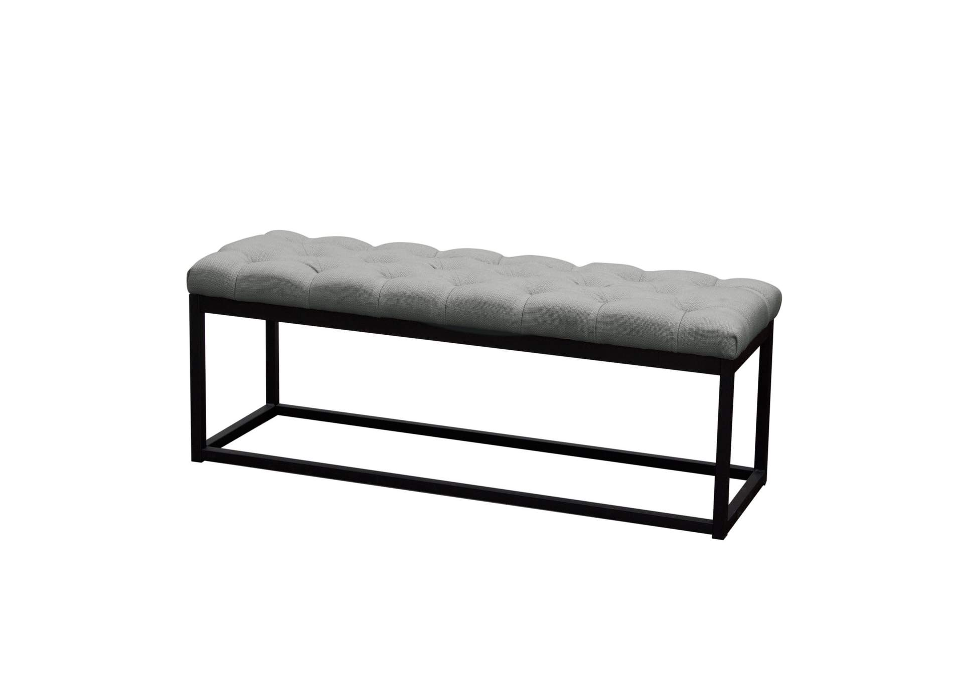 Mateo Gray/Black Powder Coat Metal Small Linen Tufted Bench,Diamond Sofa