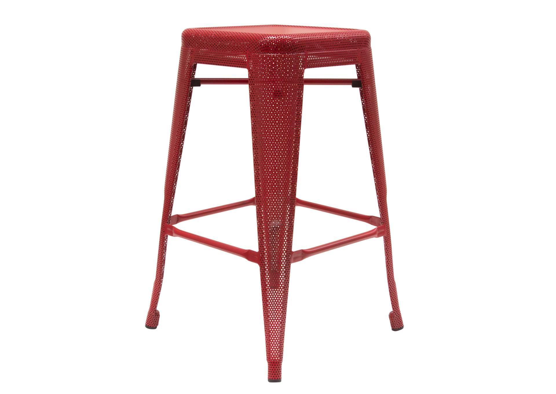 Mesh Red Perforated Metal Counter Height Backless Stool,Diamond Sofa