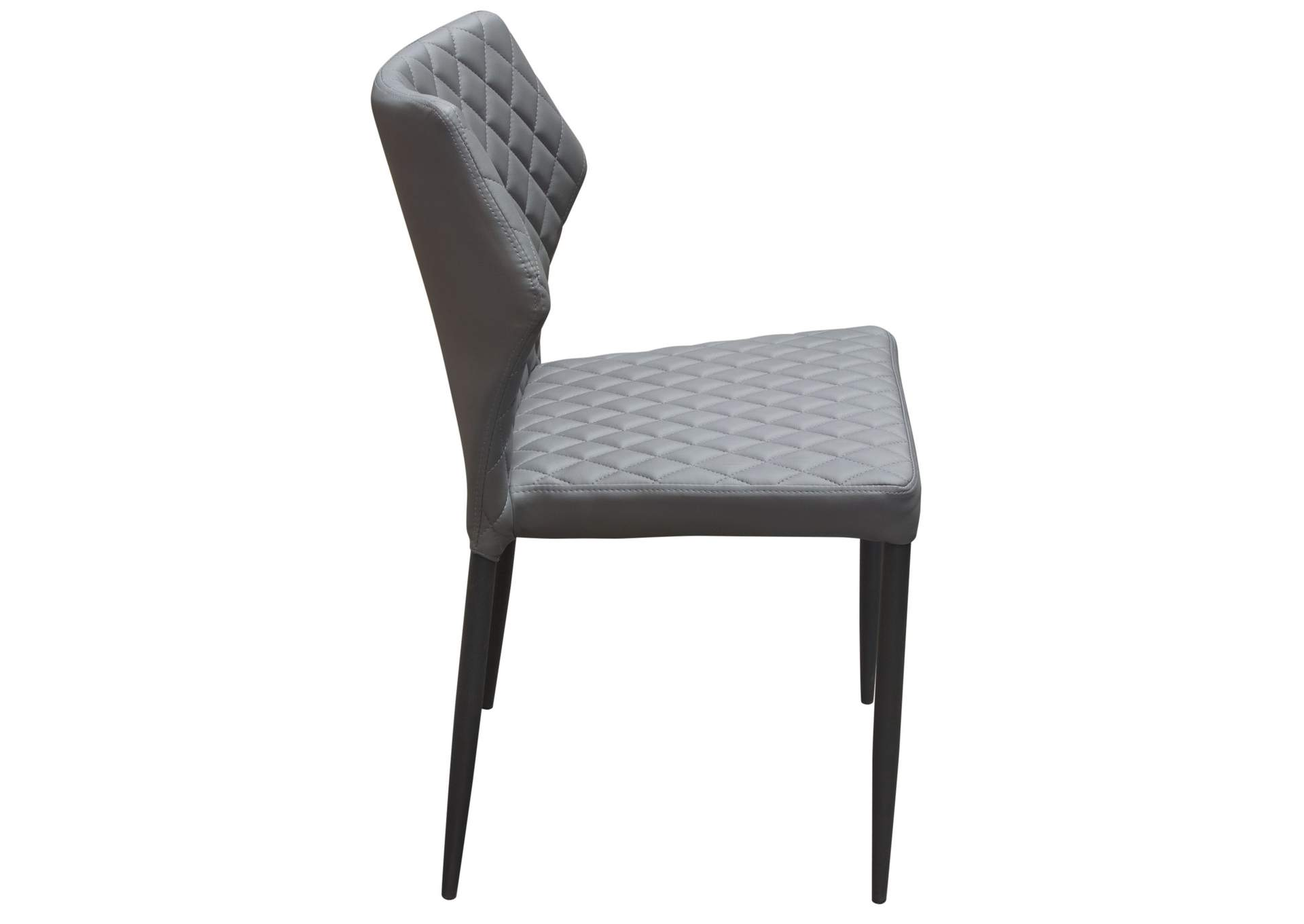 Milo Grey Diamond Tufted Leatherette Dining Chairs w/Black Powder Coat Legs (4Pc),Diamond Sofa