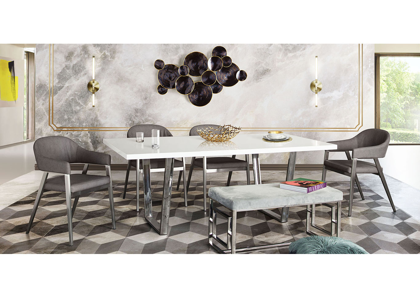Mirage Rectangular Dining Table w/White Lacquer Top & Chrome Base,Diamond Sofa