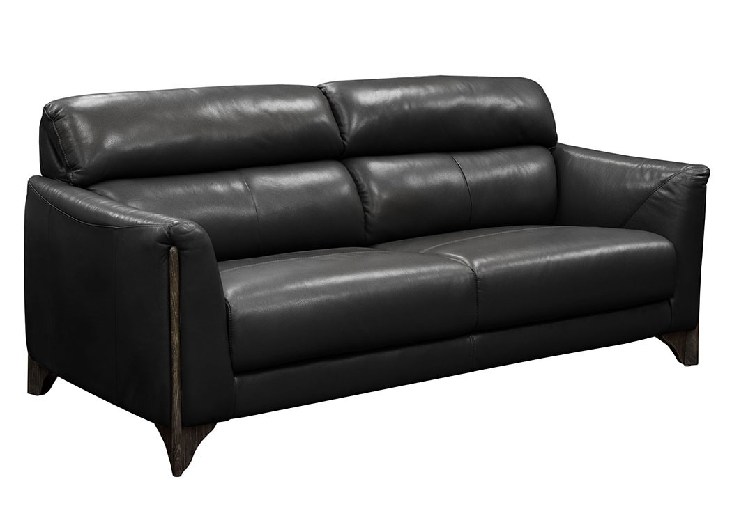 Monaco Sofa in Black Blended Leather with Ash Wood Trim & Leg,Diamond Sofa