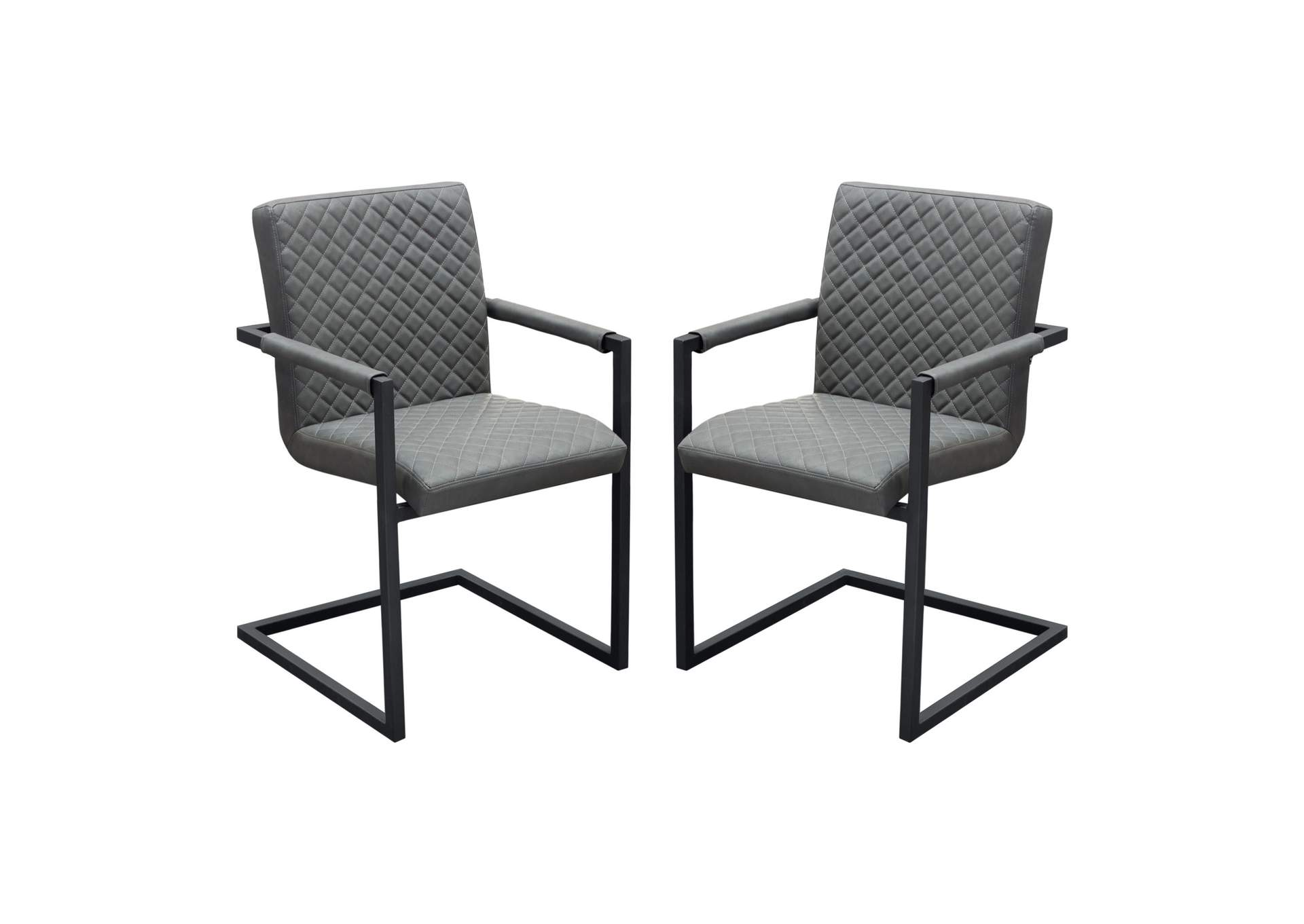 Nolan Charcoal Diamond Tufted Leatherette on Charcoal Powder Coat Frame Dining Chairs (2Pc),Diamond Sofa