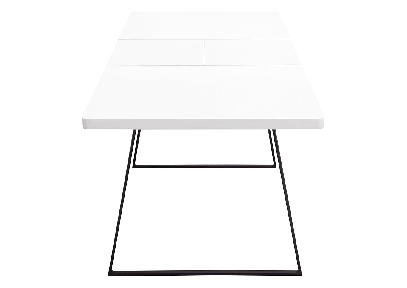 Tempo Extension Dining Table w/White Lacquer Finish & Black Powder Coated Legs,Diamond Sofa