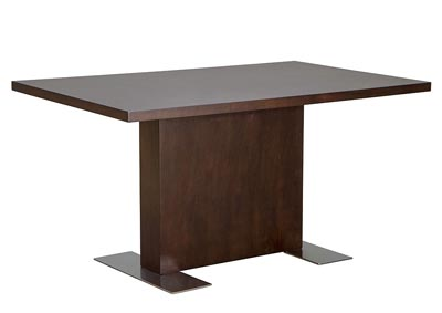 Rectangle Dining Table in Java Veneer with Stainless Steel Base