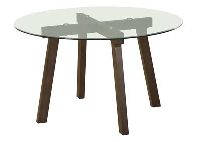Round Clear Glass Top Dining Table with Espresso Base