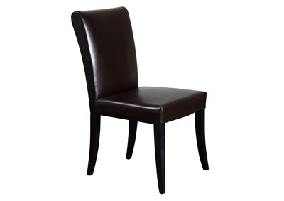 Set of 2 Black Bonded Leather Dining Side Chairs with Wood Legs