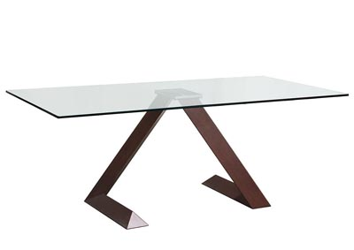 Clear Rectangular Glass Top Dining Table with Iron Base in Wood Grain Finish