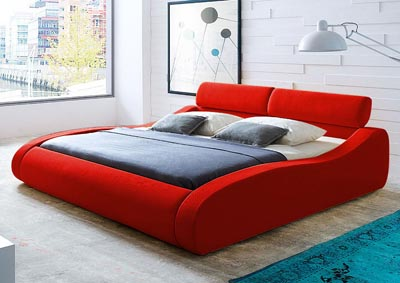 Aruba Queen Bed in Red Fabric with Click-Clack Head Rests