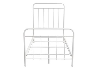 Bailey White Powder Coat Metal Twin Bed