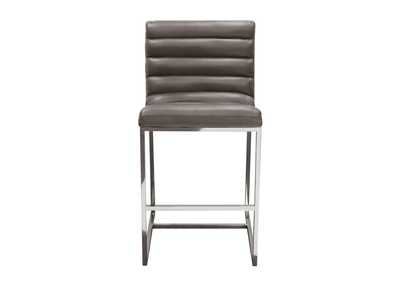 Bardot Elephant Grey Counter Height Chair W/ Stainless Steel Frame
