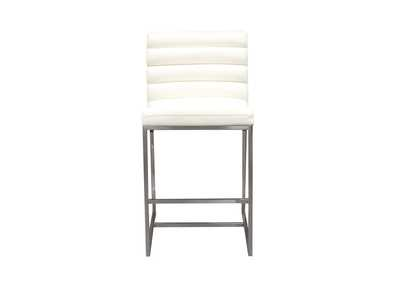 Bardot White Counter Height Chair W/ Stainless Steel Frame