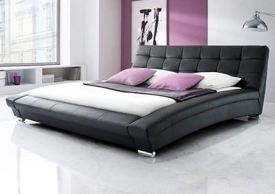 Bella Eastern King Bed in Black Leatherette w/ Metal Leg