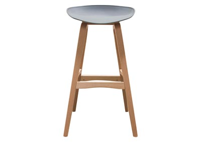 Brentwood Gray Bar Height Stool w/Molded Bamboo Frame