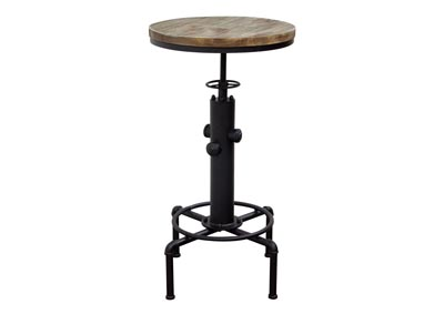 Brooklyn Adjustable Height Bistro Table w/Weathered Grey Top & Black Powder Coat