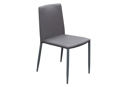 2-Pack Stackable Dining Chairs in Grey with Metal Legs