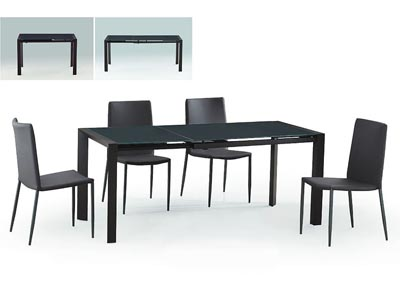 Carbon Glass Top Extension Dining Table with Metal Frame & 4-Pack Stackable Dining Chairs in Grey with Metal Legs