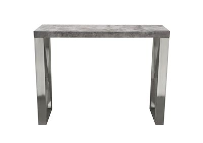 Carrera 3D Faux Concrete Finish Counter Height Table w/Brushed Stainless Steel Legs