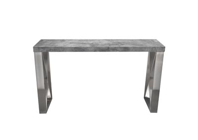 Carrera Faux Concrete Finish Console Table w/Brushed Stainless Steel Legs
