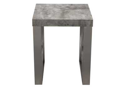 Carrera Faux Concrete Finish End Table w/Brushed Stainless Steel Legs