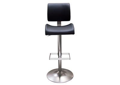 Contour Black Hydraulic Adjustable Height Bar Stool w/Brushed Stainless Steel Base