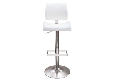Contour White Hydraulic Adjustable Height Bar Stool w/Brushed Stainless Steel Base
