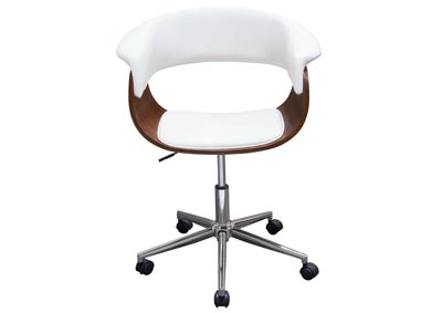 Cove Castered White Office Chair w/Molded Bamboo Seat and Chrome Base