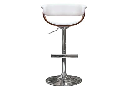 Cove White Hydraulic Adjustable Height Stool w/Molded Bamboo Seat and Polished Metal Base