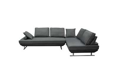 Dolce Grey Fabric Lounge Seating Platforms w/Movable Backrest Supports (2Pc)