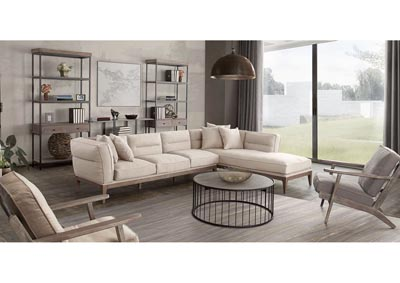Image for Eden RF 2PC Sectional in Sand Linen with Down Seating and Solid Beech Wood Frame in Grey Oak Finish by Nova Lifestyle