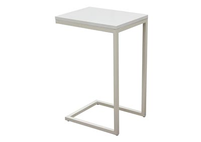 Sleek Metal Frame Accent Table with Gloss Top & Metal Frame