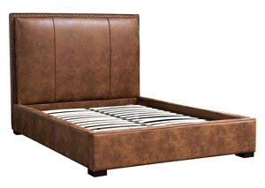 Joyce Eastern King Bed in Brown Bomber Blended Leather with Nail Head Accents
