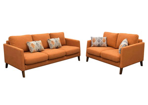 Keppel Solid Fabric Sofa & Loveseat Two Piece Set with Accent Pillow